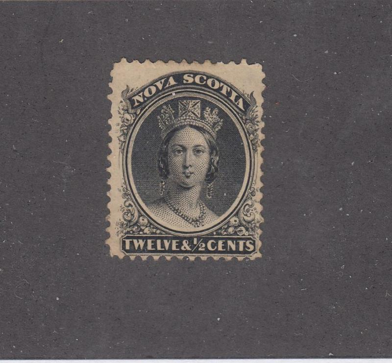NOVA SCOTIA REF# KM25 # 13 FVF-MNGH 12 1/2cts QUEEN VICTORIA BLK CAT VALUE $30