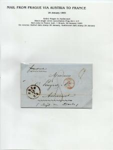 FRANCE Early Incoming LETTER/COVER 1865 fine used item Prague - Audincourt