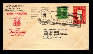 Philippines 1952 Uprated Cover to USA / Red Cross Slogan Cancel - L22592