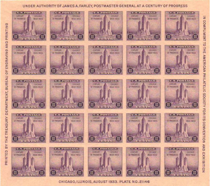 US 767 - 3¢ American Philatelic Press Sheet 9 Unused