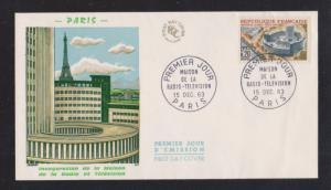 1963 Radio and Television Inauguration de la Maison - Color Cachet - Unaddressed