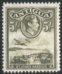 ANTIGUA-1938-51 5/- Olive-Green Sg 107 MOUNTED MINT V38014