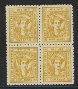 INDIA-INDORE SG41 1941 4a YELLOW-BROWN BLK OF 4 MNH