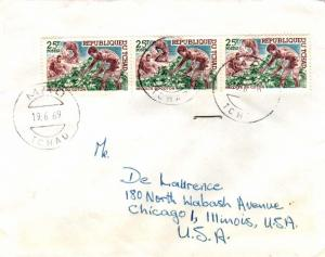 Chad 25F Cotton Industry (3) 1969 Mao, Tchad to Chicago, Ill.  EUROPEAN SIZE