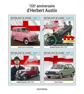GUINEA - 2021 - Herbert Austin - Perf 4v Sheet -Mint Never Hinged