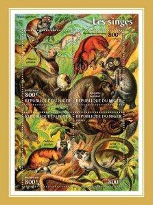 NIGER - 2021 - Monkeys - Perf 4v Sheet -Mint Never Hinged