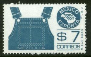 MEXICO Exporta 1122 $7P Overalls Dk blue Fluor Paper 7 MINT, NH. VF.
