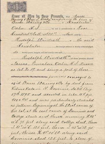 Hawaii Sc R3 on 1896 Warranty Deed, Magenta cancel, 2 signatures