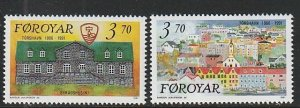 1991 Faroe Islands - Sc 222-3 - MNH VF - 2 single - Town of Torshavn