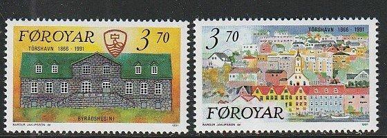 1991 Faroe Islands - Sc 222-3 - MNH VF - 2 single - Town of Torshavn