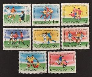 Romania 1990 #3602-9(8), World Cup, MNH.