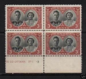 Canada #248 Mint Plate #1-3 Bottom Block