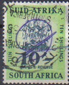 SOUTH AFRICA, used 10s, Revenue stamp, dated 1956
