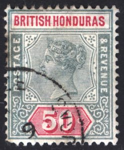Br Honduras 1898 50c Green & Carmine Rose Scott 54 SG 62 VFU Cat $72