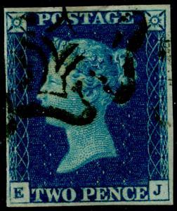 SG5, 2d blue, FINE used. Cat £900. BLACK MX. EJ