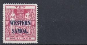 WESTERN SAMOA  1945 - 53  S G 209  10/-  CARMINE LAKE   MH
