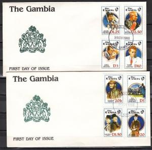 Gambia, Scott cat. 768-775. Cinema & Entertainers on 2 First day covers.