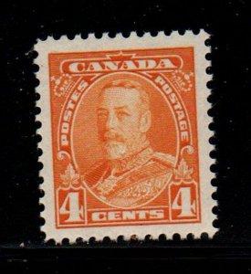 Canada Sc 220 1935 4c yellowish orange George V stamp mint NH