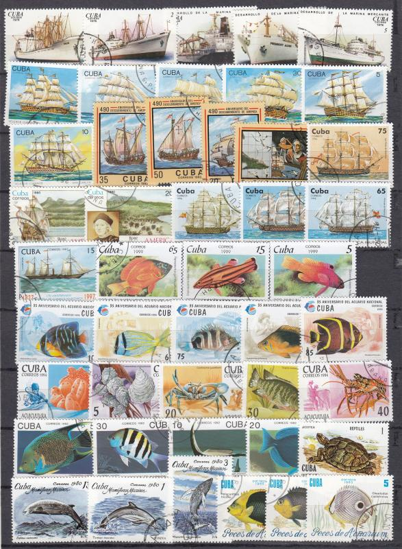 Cuba - 92 Ships and the marine world stamps lot .# 9 - (1700)