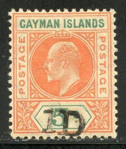 CAYMAN ISLANDS SCOTT#19 SG#19  1D OVERPRINT  MINT HINGED ORIGINAL GUM AS SHOWN