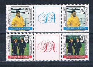 Pitcairn Islands 275-76 MNH gutter pairs set Royal Wedding 1986 (HV0146)