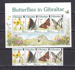 Gibraltar 1997 butterflies insects set+s/s MNH