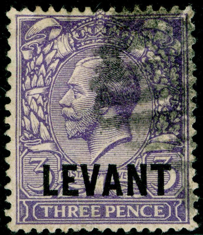 BRITISH LEVANT SGL19, 3d bluish violet, USED. Cat £10.
