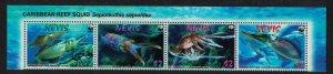 Nevis WWF Caribbean Reef Squid Strip of 4v Latin Name 2009 MNH SC#2380-2383