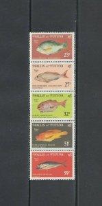WALLIS & FUTUNA ISL: Sc. 260a /**Beautiful FISHES**/ Vertical Strip of 5 / MNH
