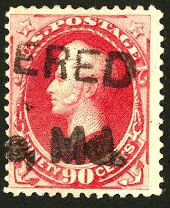 U.S. Sc #191 - Ninty Cent Stamp - CARMINE - PERRY F-VF Cat.$375.00