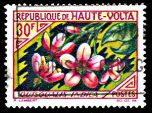 Upper Volta 122, used, Rangoon Creeper Flower