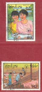 LAOS STAMPS SC# 830+831  *CTO* 1987 63k+142k  WORLD FOOD DAY SEE SCAN