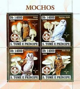 SAO TOME E PRINCIPE 2006 SHEET BIRDS MUSHROOMS OWLS GOLD st6407a
