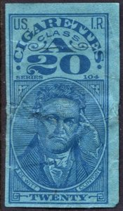 TA 174c Series 104: 20 Cigarettes Tax Stamp (1934) Used