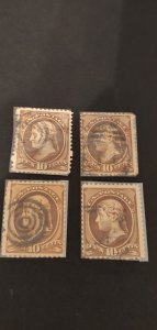 US #209 Used Lot of 4 Fancy Cancels