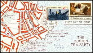 Scott 2052 / 1480 20 Cents Treaty Of Paris Saratoga Cornish Hand Painted FDC