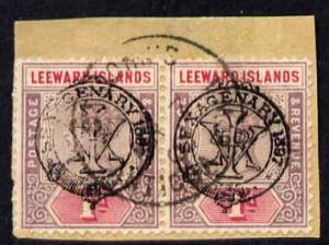 Leeward Islands 1897 QV Diamond Jubilee 1d horiz pair on ...