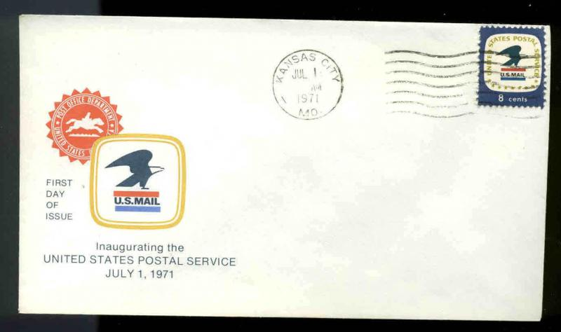 1396 USPS 7-1-71 FDC KANSAS CITY 1, MO OFFICIAL CACHET MACHINE CANCEL