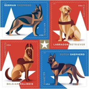 2019 55c Military Working Dogs, Block of 4 Scott 5405-5408 Mint F/VF NH