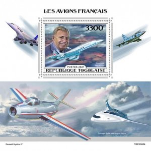 TOGO - 2021 - French Aircraft - Perf Souv Sheet - Mint Never Hinged