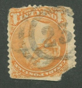 CANADA #35a USED SMALL QUEEN 2-RING NUMERAL CANCEL 23