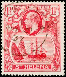 ST. HELENA SG99b, 1½d rose-red, FINE USED. Cat £200. TORN FLAG.