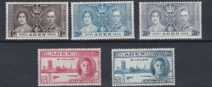 ADEN  1937 - 46  CORONATION & VICTORY SETS  MH  BLACK MARKS TO 2 1/2