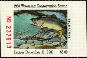 WYOMING #5 1988 STATE DUCK STAMP CUT THROAT TROUT by Clark Ostergaard