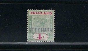 ZULULAND SCOTT #22 1894-96 VICTORIA 4SH SPECIMEN - MINT HINGED