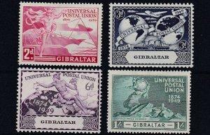 GIBRALTAR     1949  UPU SET OF 4  MH