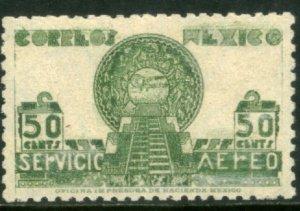 MEXICO C138, 50¢ 1934 Definitive SINGLE. Aztec Symbols. MINT, NH. F-VF.