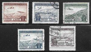 Albania (1950) - Scott # C55 - C59,   Used
