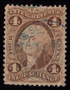 US Sc R20d SILK Blue Handstamp Cancel F-VF Cat $140.00