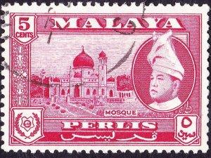 MALAYA PERLIS 1957 5c Carmine-Lake SG32 Fine Used